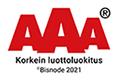 AAA Korkein luottoluokitus logo. Bisnode 2021.