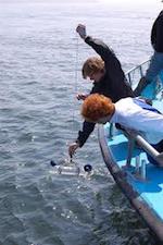 Kaksi tutkijaa ottaa vesinäytteitä veneestä käsin.