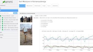 Maaperän kosteusmittaus valokuvia ja graafinen käyrä EMMI-järjestelmän etusivulla.