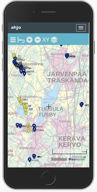 Mobiili kuva AHJO-karttapalvelun seurantapisteistä.