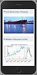 Mobiili kuva Kokkolan sataman EMMI-Share palvelusta, kuva satamasta ja EMMIn graafisesta kuvaajasta.