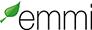 Emmi-logo sisältää liikemerkin, joka on vihreä puun lehti.