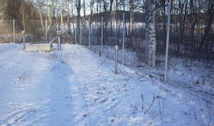 Talvikuva pohjaveden havaintoputkesta aidatulla alueella metsän laidassa.