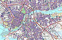 Ahjo-kunnossapitojärjestelmän karttapalvelukuva Joensuun Veden mittauspisteistä.