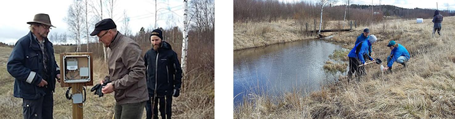 Kolme miestä tutkii mittauspisteen laitetta. Tutkijat ottamassa näytteitä pellon viereisestä ojasta