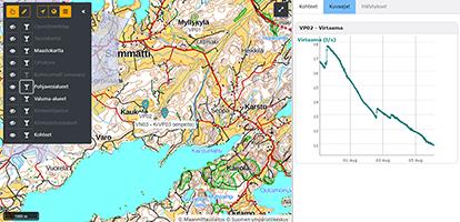 Kuva EMMI-järjestelmän karttapalvelusta. Karttakuva ja oikealla graafinen käyrä mittaustuloksista.