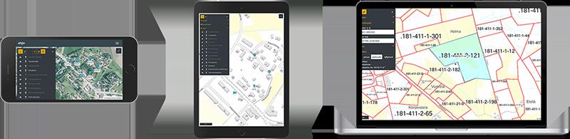 Näyttökuvia mobiilisti AHJO-järjestelmän karttapalvelusta - kollaasi.