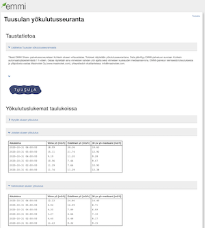 Kuva EMMI-järjestelmän Tuusulan yökulutusseuranta sivulta, jossa taustatietoa ja taulukot yökulutuslukemista.